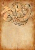 Grunge bakgrund med draken Royaltyfri Fotografi