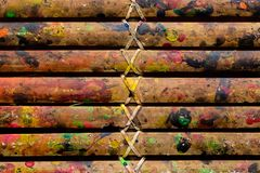 Grunge Bamboo Bars Texture with Colors Spatter for Abstract Background royalty free stock photography