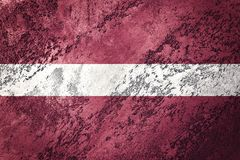 grunge bandery Łotwa Latvia flaga z grunge teksturą Obraz Stock