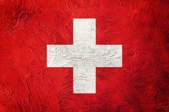 grunge bandery Szwajcarii Szwajcar flaga z grunge teksturą Obraz Stock