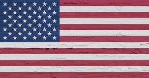 grunge bandery usa Odosobniony Amerykański sztandar na białym drewnianym tle Malujący szorstki rocznika tło U S obraz stock