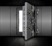 Grunge bank vault. Illustration of a bank vault in a grunge interior Royalty Free Stock Images