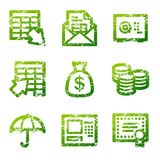 Grunge banking contour icons Stock Photo