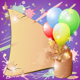 Grunge banner and balloons Royalty Free Stock Photos