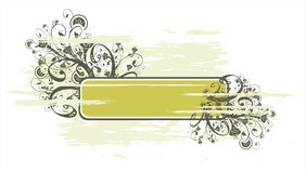 Grunge banner and floral ornament Stock Photos