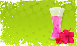 Grunge banner with glass of juice and hibiscus flo Stock Image