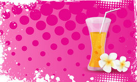 Grunge banner with glass of orange juice and plumeria flowers Stock Photo