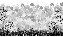 Grunge banner with grass and ornaments Stock Photo
