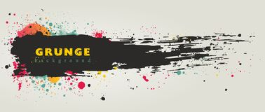 Grunge banner, hand drawn paintbrush stroke. Royalty Free Stock Images