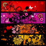 Grunge banner set. Grunge colorful banner set with circles, butteflies and flowers Stock Photography