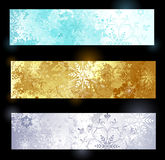 Grunge banner with snowflakes Stock Photos