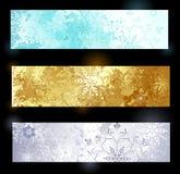 Grunge banner with snowflakes. Three horizontal banner with snowflakes and glittering jewelry poured texture Stock Photos