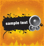 Grunge banner with speakers Stock Image