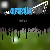 Grunge banner and word Australia with a soccer ball and gate Royalty Free Stock Photos