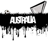 Grunge banner and word Australia with a soccer ball and gate Stock Images