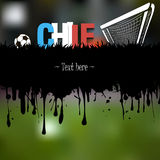 Grunge banner and word Chile with a soccer ball and gate Stock Photos