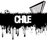 Grunge banner and word Chile with a soccer ball and gate Royalty Free Stock Photography