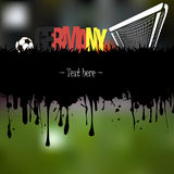 Grunge banner and word Germany with a soccer ball and gate Stock Photography