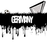 Grunge banner and word Germany with a soccer ball and gate Stock Images