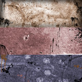 Grunge banners 1. Trree colorfull grunge, rusty and very dirty banners Royalty Free Stock Images