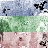 Grunge banners 10. Trree colorfull grunge, rusty and very dirty banners Royalty Free Stock Photography