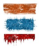 Grunge banners. Three coloured different shape grunge banners Stock Images