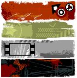 Grunge banners. A collection of grunge banners on different topics: military, film, danger Stock Photo