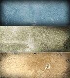Grunge banners. 3 colorful bars of aged textures Royalty Free Stock Photos