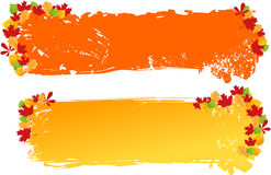 Grunge banners with autumn leaves ornament Royalty Free Stock Image