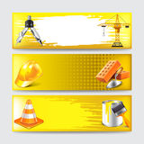 Grunge banners with construction objects vector Royalty Free Stock Image