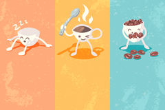 Grunge banners with cute coffee cup Stock Photos