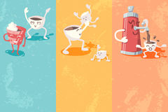 Grunge banners with cute coffee cup Stock Images