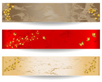 Grunge banners with floral elements. Stock Image