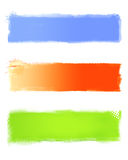 Grunge banners set. Blue, orange , green Royalty Free Stock Photos
