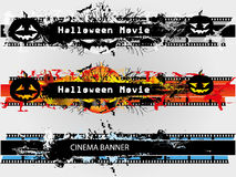 Grunge banners set for Halloween and plain. Cinema banner with five colors Stock Photo