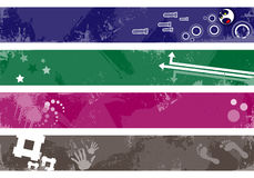 Grunge banners for your text. Colorful separated banners with modern design elements Stock Image