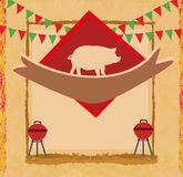 Grunge Barbecue Party Invitation Royalty Free Stock Photography