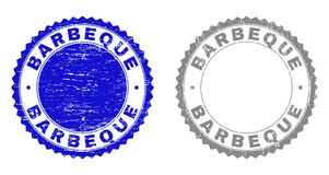 Textured BARBEQUE Scratched Watermarks. Grunge BARBEQUE stamp seals isolated on a white background. Rosette seals with grunge texture in blue and grey colors royalty free illustration
