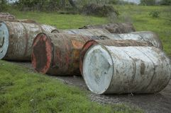 Grunge barrels Stock Photo