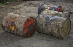Grunge barrels in the backyard Royalty Free Stock Photography