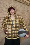 Grunge basket ball street player on brickwall Royalty Free Stock Images