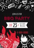 Grunge BBQ Party Invitation Template for posters, flyers. Barbeque grill manu on dark background. Retro picnic style.  stock illustration
