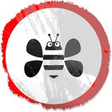 Grunge bee sign Royalty Free Stock Photo