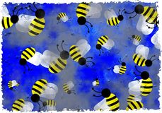 Grunge bees Stock Photo