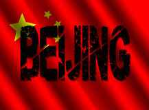 Grunge Beijing text with flag Royalty Free Stock Photography