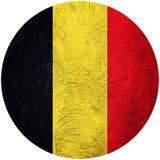 Grunge Belgium flag. Belgian button flag Isolated on white backg Royalty Free Stock Images
