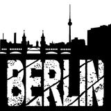 Grunge Berlin with skyline Stock Photos