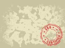 Grunge Beschaffenheits-Hintergrund-SEO zugelassener Stempel Stockfotografie