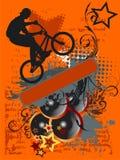 Grunge Bike Jump And Music Stock Photo