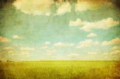 Grunge bild av det gröna fältet och den blåa skyen Arkivbild